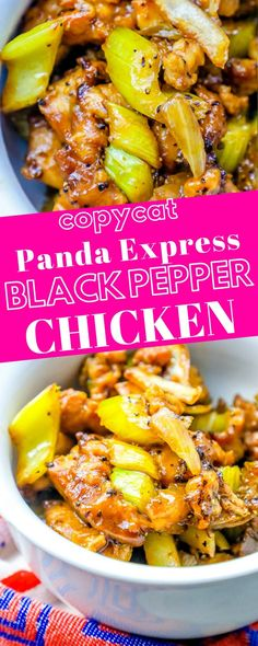 Panda Express Black Pepper Chicken Copycat Recipe a delicious Chinese inspired dish based off Panda Express popular black pepper chicken Tastes just like it is from Pand. Recipes With Chicken And Peppers, Chicken Stuffed Peppers, Panda Express Recipes, Panda Express Kung Pao Chicken Recipe, Panda Express Teriyaki Chicken, Express Chicken, Carne Asada, Asian Recipes, Healthy Recipes