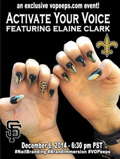 Dec 2014 - VO Peeps with special guest Elaine Clark #‎BrandImmersion‬ ‪#‎NailBranding‬ ‪#‎VOPeeps‬ ‪#‎SFGiants #NewOrleansSaints‬ ‪#‎ibizanails‬ ‪#‎NailedIt‬ ‪#‎PhilipROCKS‬ vopeeps.com for more information!