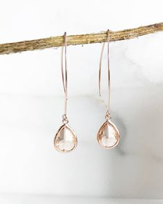 Rose Gold and Champagne Drop Earrings. Bridesmaid Gift. Rose Gold Drop Earrings. Wedding Jewelry. Simple Earrings. Dangle Earrings. Gift.