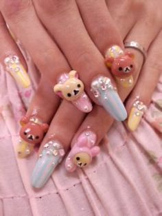 ☮✿★ Kawaii Nails for Girls ✝☯★☮ Disney Acrylic Nails, 3d Acrylic Nails, Coffin Nails, Cute Nail Art, Cute Nails, Pretty Nails, Hair And Nails, My Nails, Acylic Nails
