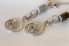 Handmade Sterling Silver Spiral Earrings w / Fossil Coral / Jewelry by Girlthree