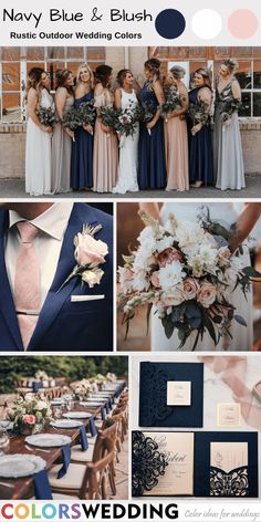 Navy Blue + Blush Outdoor Wedding: mix-match navy blue and blush dresses, navy men& suit, wedding bouquet, tablescape and napkins, invitations… Country Wedding Colors, Blush Wedding Colors, Blue And Blush Wedding, Blue Suit Wedding, Dusty Rose Wedding, Summer Wedding Colors, Wedding Color Schemes, Blush Wedding Bouquets, Blue Roses Wedding