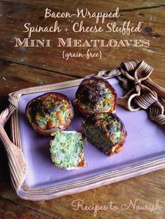 Bacon-Wrapped Spinach & Cheese Stuffed Mini Meatloaves ... these bad boys are so good they don't require ketchup + they're chock full of veggies, full of flavor + BACON | Recipes to Nourish