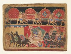 Krishna and the Kshatriya Maidens Proceed to Dvaraka: page from a Bhagavata Purana series Sa Nana Period: Early Rajput -Chaurapanchasika style Date: ca. 1520–30 Culture: India (Delhi-Agra area) Medium: Ink and opaque watercolor on paper Dimensions: 8 x 10 in. (20.3 x 25.4 cm) Classification: Paintings Credit Line: Gift of Mr. and Mrs. Alvin N. Haas, 1972 Accession Number: 1972.238