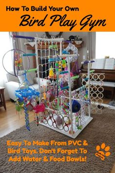 Bird toys - How To Build Your Own Bird Play Gym – Bird toys Diy Parrot Toys, Diy Bird Toys, Parrot Pet, Diy Toys, Bird Play Gym, Parrot Play Stand, Bird Stand, Conure, Build Your Own