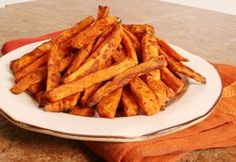 Sweet Potato Oven Baked Fries | Oven baked sweet potato fries are a delicious and healthier alternative to the standard deep-fried French fry.