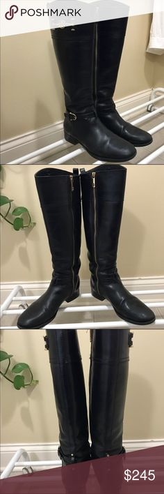 """Tory Burch Nadine Riding Boot AUTHENTIC!! Good used condition. Some wear on tips of toes shown in last picture. A golden logo bit gleams on the flared shaft of a classic leather riding boot.  * Side zip closure. * Approx. heel height: 1 1/4"""". * Approx. boot shaft height: 17""""; 14 3/4"""" calf circumference. * Leather upper/leather and fabric lining/leather sole. * Made in Brazil. Tory Burch Shoes Winter & Rain Boots"""