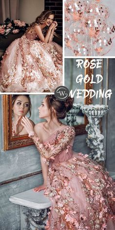 rose gold wedding dress wedding gown Rose Gold Wedding Dress, Rose Gold Theme, Gold Wedding Colors, Gold Bridesmaid Dresses, Gold Wedding Theme, Gold Wedding Decorations, Wedding Gifts For Bridesmaids, Pink Wedding Dresses, Wedding Ideas