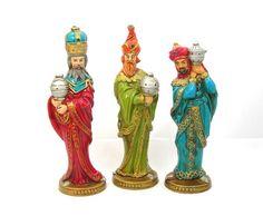 Christmas Decor Three Kings Figures 10 Tall by AtticDustAntiques