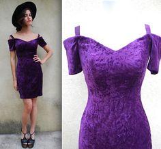 Vintage 80s 90s Purple People Eater Velvet Off by littlelightVTG, $34.00