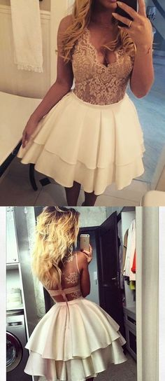 Lace Homecoming Dress,Short Homecoming Dress,Chic Homecoming Dress,81701