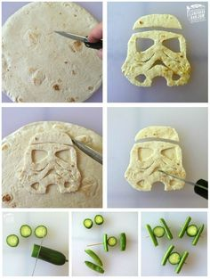 How to make Star Wars lunchbox treats like a Stormtrooper tortilla, or Tie Fighter veggies | Lunchbox Dad