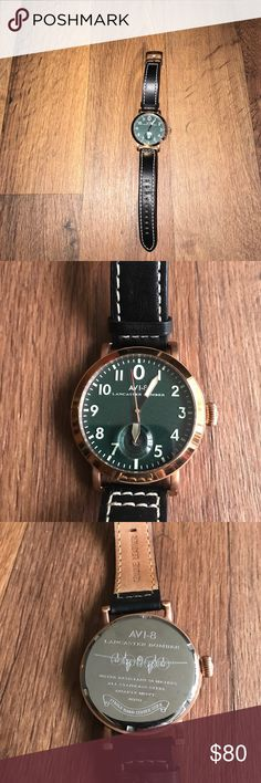 Avi-8 Lancaster Bomber Leather Wrist Watch Black Needs a new battery Avi-8 Accessories Watches