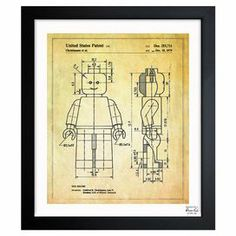Framed art print with a Lego figure blueprint motif. Made in the USA.   Product: Wall artConstruction Material: Paper and woodColor: Black frameFeatures:  Made in the USAReady to hang  Cleaning and Care: Dust lightly