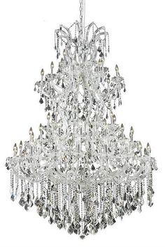 """Karla - Large Hanging Fixture (61 Light Traditional Grand Crystal Chandelier) - 2380G54  ➤ Dimensions: W/D 54"""" x H 72"""""""