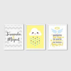 """Trio de Quadros """"2 nomes"""" Baby Boy Rooms, Baby Room, Baby Live, Cute Frames, Kidsroom, Baby Decor, Paper Decorations, Diy Party, Future Baby"""