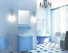 Blue White Aqua Bathroom Tiles and Accessories Decorating Ideas Royal Bathroom, Teal Bathroom Decor, Small Bathroom, Bathroom Ideas, Blue Rooms, Blue Walls, Aqua Paint Colors, Farmhouse Design, Corner Bathtub
