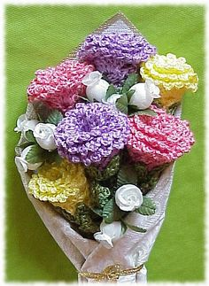 Rose Bouquet, Crocheted Flowers