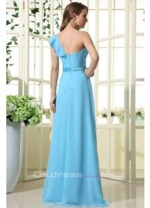 Blue Sheath/Column One Shoulder Chiffon Long Bridesmaid Dresses