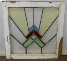 """OLD ENGLISH LEADED STAINED GLASS WINDOW Fascinating Abstract design 20"""" x 19.75"""""""