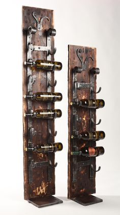 Our Floor Standing Wine Rack is Creatively Unique and is Perfect When Wall or Counter Space is Limited. Our 'Old World' Wall Rack is Attached to a Board Made to Look Old and a Heavy Metal Base. Comes