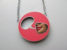 Quote Bubble Necklace in Bubblegum Pink.