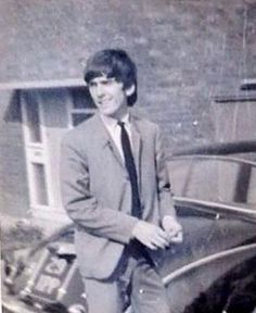 the-land-of-doesnt-have-to-be:  A bit blurry, but this is George outside his parents house in Macketts Lane.   #george #georgeharrison #thebeatles #beatles #beatlegeorge #mackettslane #warrington #cheshire #car