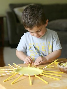 toddler created sun craft for summer