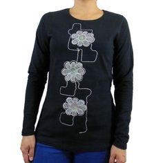 Camiseta algodon manga larga flores bordadas