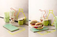 Love the bright green washi tape...i also want that sol pitcher. By julia hoersch.