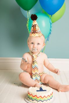 Baby Boy First Birthday Cake Smash Set with Hat, Tie and Diaper Cover from Sprinkles of Love. $43.00, via Etsy.