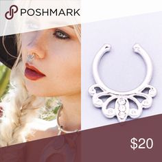 🔴Red dot Sale🔴silver septum boho nose ring🔮 Get the trend everyone's buzzing about!! All models are wearing a different septum. (Shown for look) We have the one in the 1st photo to the right and the 3rd photo👍🏼 This listing is available for purchase 💫💫💫💫💫💫💫💫💫💫💫 we have 3 available! silver septum nose ring! Silver boho~ silver plated metal alloy! Very delicate and pretty!!! thank you✌🏼️ Shopwila Jewelry Rings