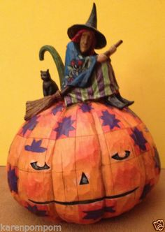 Jim Shore Halloween An Eerie Eve Awaits C4002853 Witch Cat Broom Jack O Lantern   eBay