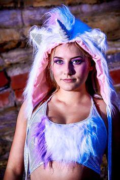 8efce41edaca Funki-B faux fur fluffy unicorn animal ears hood with poms dress up lined  sparkle horn fancy dress fantasy accessory