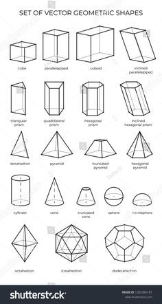 shapes geometric 3d drawing outline shape vector objects isometric simple geometry perspective huge math science skimresources form