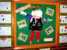 Tattiebogle - scarecrow materials display in year 1