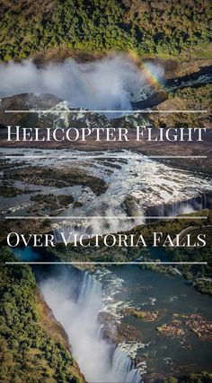 Helicopter ride over Victoria Falls is a top adventure every traveler must do while visiting Africa. Everyone knows that the best vantage point of something can be gained from up above. So naturally, we took to the skies for a grand view of the World's largest waterfall, Victoria Falls. Oh what a view it was. Click to read the full Divergent Travelers Adventure Travel Blog post at http://www.divergenttravelers.com/helicopter-flight-victoria-falls/