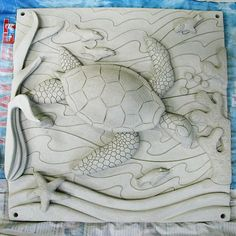 clay tile underwater turtle high relief pottery ceramics