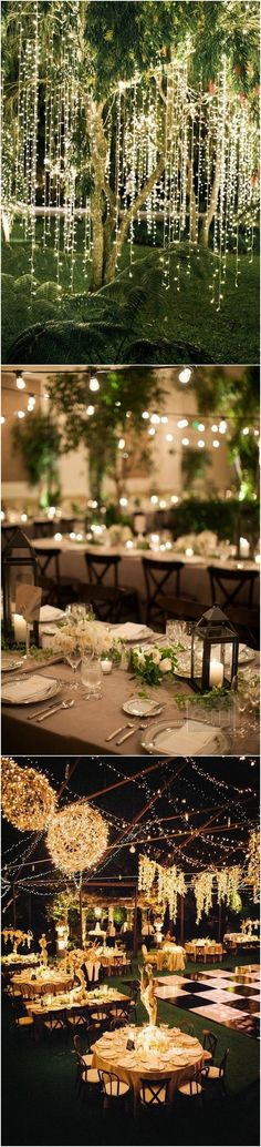 pretty lights for outdoor wedding decorations #weddingideas #weddingdecorations