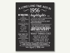 The Year 1956, Personalized 60th Birthday Printable Poster, PRINTABLE 60th Birthday Sign, Fun Facts 1956, 60th Birthday Gift, Digital File