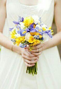Pretty & Petite Wedding Bouquet: Yellow Freesia, Yellow Craspedia, Yellow/Blue-Violet Iris, Blue Muscari Hyacinth & White Roses