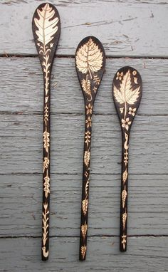 This is a listing for 3 custom spoons with monogram / initials.... and will take about 3 weeks to complete. *************************************************** Please let me know which initials you would like for your monogram! ++++++++++++++++++++++++++++++++++++++++++++++++++++++++ Please note that no two sides of a spoon are alike...see pictures for both front and back images. These spoons will measure 10 , 12 and 14 inches long and will be about 1 1/2 inches wide. They will be decorated…