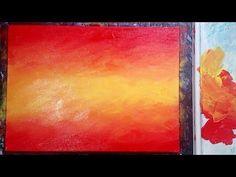 Acrylic Painting: Sunset Orange Blended Background Painting with Acrylics