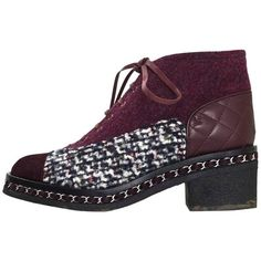 Preowned Chanel Burgundy, Black & White Tweed Boots Sz 39 With Box (17 015 UAH) ❤ liked on Polyvore featuring shoes, boots, white, white black shoes, tie shoes, black and white shoes, mid-heel boots and mid heel boots