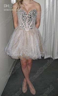 Short Sweetheart Beaded Prom Dresses 1403 A Line Strapless Sleeveless Basque Layered Stone Skirt Shop For Dresses Silver Cocktail Dresses From Bestdavid, $110.06  Dhgate.Com
