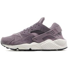 Nike Air Huarache Run Premium Women's ($125) ❤ liked on Polyvore featuring shoes, athletic shoes, perforated shoes, purple leather shoes, breathable shoes, nike footwear and nike athletic shoes