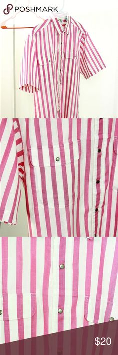abf4111b209c Pink white vintage striped shirt L Vintage pink and white striped shirt.  Fits like a