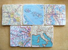 Custom Map Coasters. Great gift idea for Weddings, Housewarmings, Anniversaries, Birthdays, Realtor Closing Gifts. Available in sets of 4, 5 & 6.