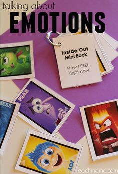 Talk with kids about emotions using Disney*PIXAR Inside Out movie. . . free printable cards to use for memory or a minibook ! #teachmama #emotions #teachingkids #Parenting #emotionsandkids #kidemotions #momhelp #Parentingtips