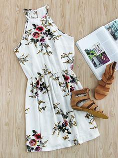 ee5cae85fd93 Floral Print Random Self Tie Split Back Cami Dress